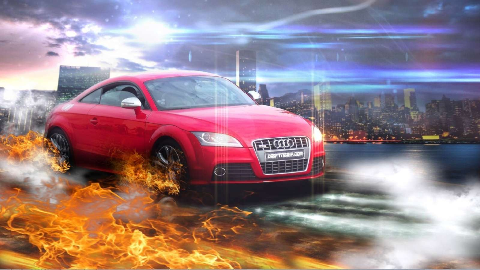 View Of Audi Red In Fire Wallpaper Hd Car Wallpapers