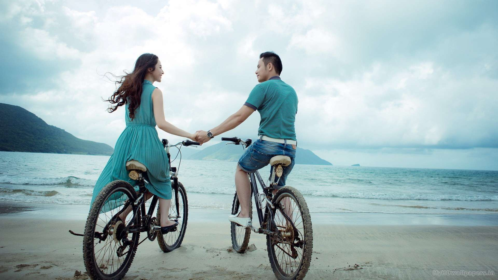 Girl And Guy With Bicycles Wallpapers