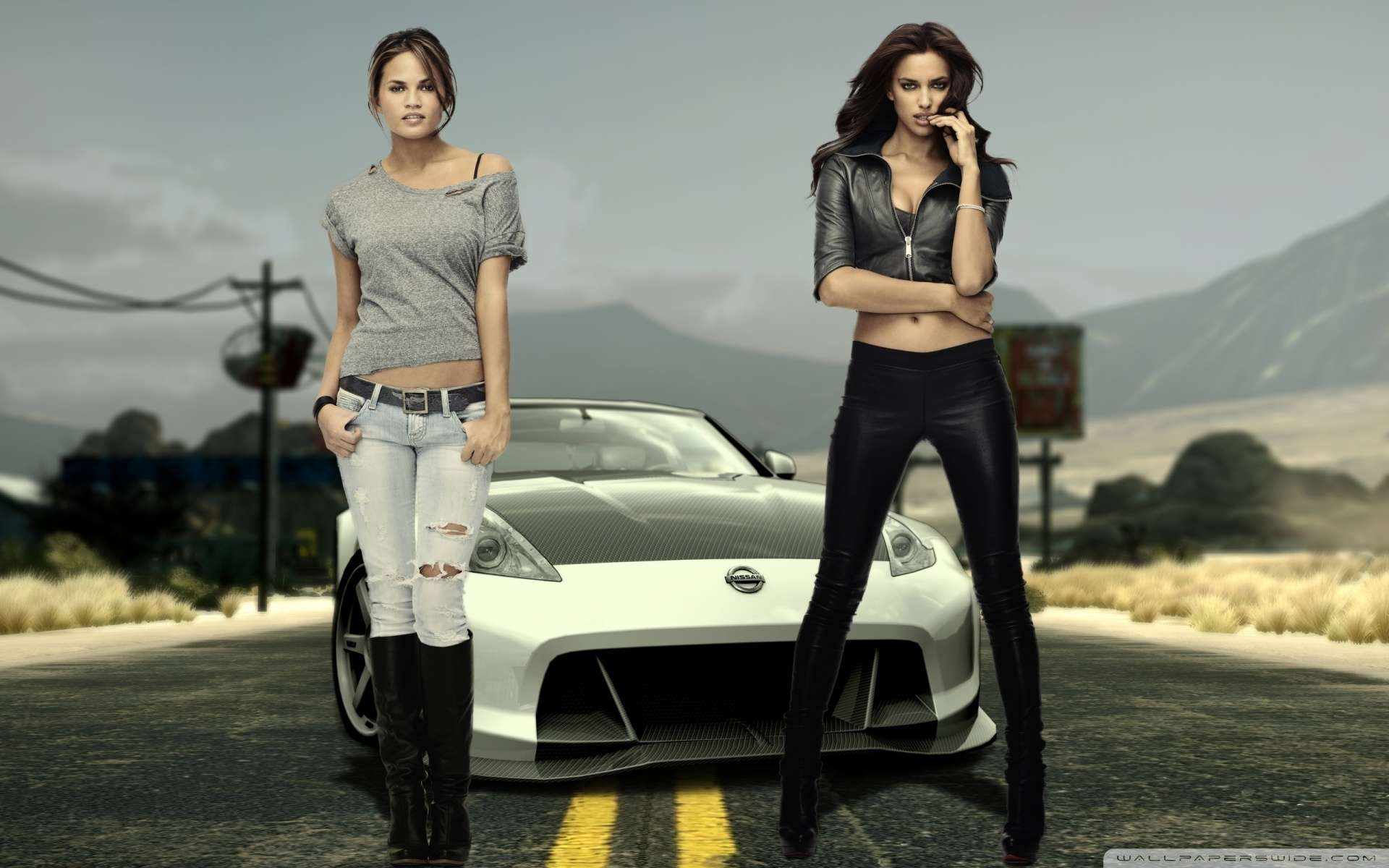 view of nissan and hot girls wallpaper : hd car wallpapers