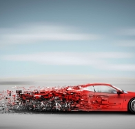 digital art red car wallpaper
